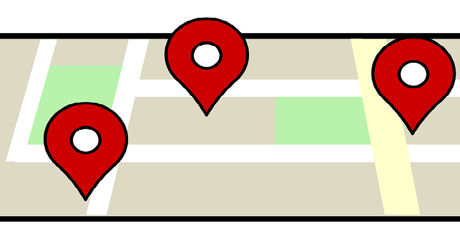 Map pins on a map